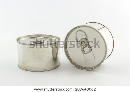 Closeup aluminum tin can on white background.