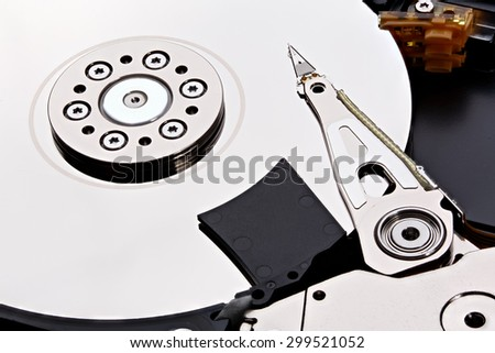 Closeup and macro view of hard drive inside. Stacked photo. - stock photo