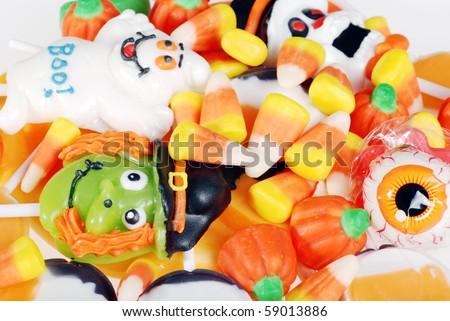 closeup assorted halloween candy - stock photo