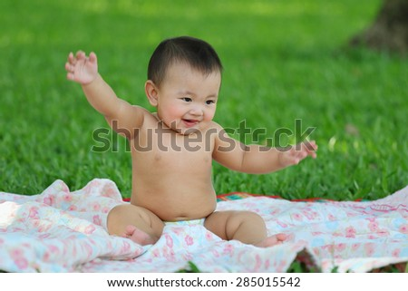 Closeup, Baby girl was cheerful. - stock photo