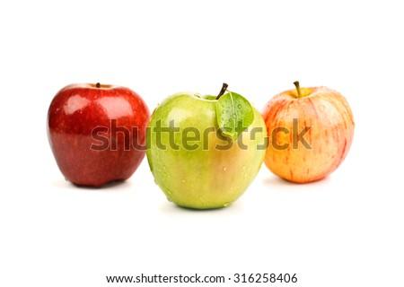 closeup beautiful fresh apples isolated on white - stock photo