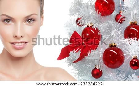 closeup beauty portrait of attractive  caucasian smiling woman - stock photo