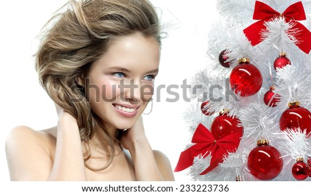 closeup beauty portrait of attractive  caucasian smiling woman isolated on white  - stock photo