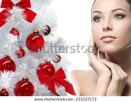 closeup beauty portrait of attractive  caucasian woman - stock photo