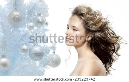 closeup beauty portrait of attractive  caucasian  woman  - stock photo