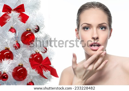 closeup beauty portrait of attractive  caucasian young woman isolated on white  - stock photo
