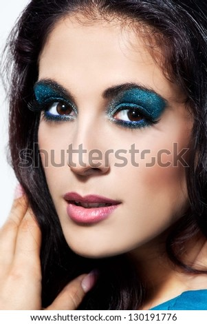 Closeup beauty portrait of attractive model face with bright visage.