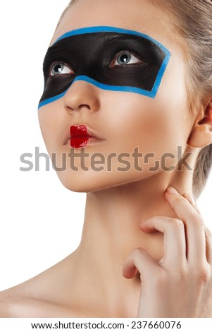 Closeup beauty portrait of attractive woman face. creative bright make up. red lips. - stock photo