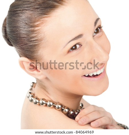 Closeup beauty portrait of handsome naked woman wearing necklace isolated on white background. Pure beauty concept. - stock photo