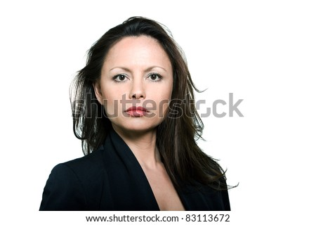 Closeup beauty portrait of serious Asian mature woman in studio isolated on white background - stock photo
