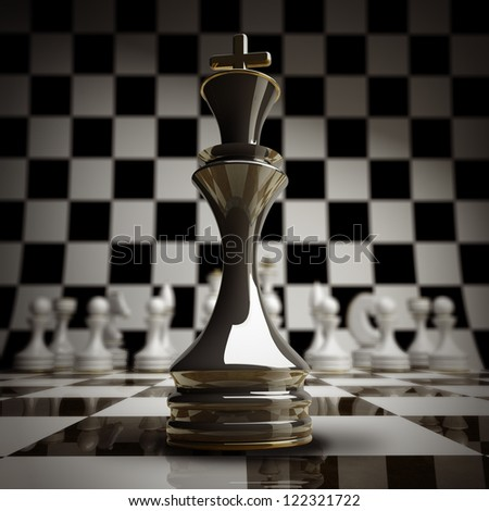 closeup Black chess king background 3d illustration. high resolution - stock photo