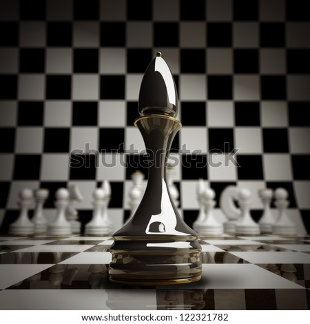 closeup Black chess officer background 3d illustration. high resolution - stock photo