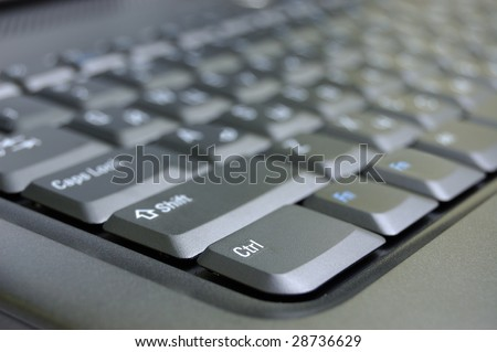Closeup black keyboard of laptop.