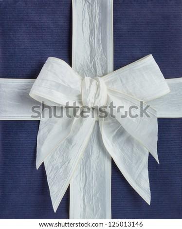 closeup blue gift box with white ribbon - stock photo