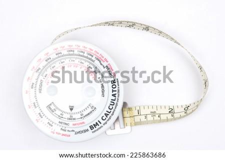 closeup body mass index calculator  on white background. - stock photo