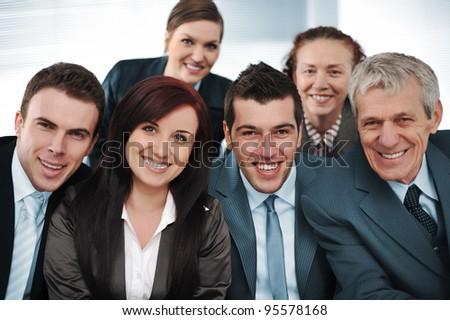 Closeup business group of six - stock photo