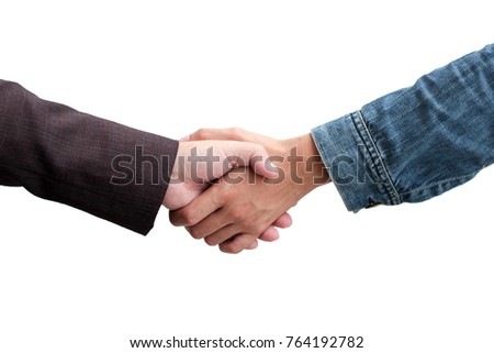 closeup business partnership handshake isolated.shaking hand between Entrepreneur and investor on white background.success, dealing, greeting and partner concept.