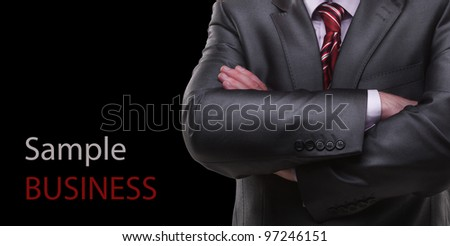 closeup businessman suit Isolated on black background - stock photo