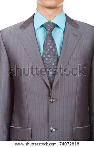 closeup businessman suit isolated over white background