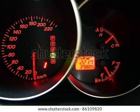 closeup car dashboard - stock photo