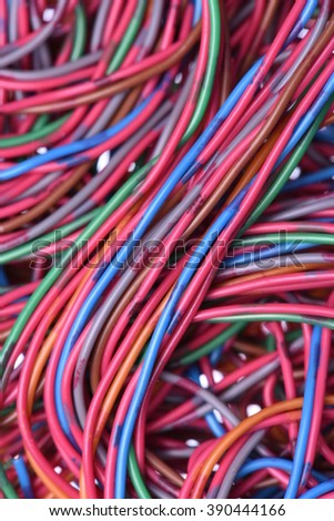 Closeup colored cables and wires - stock photo