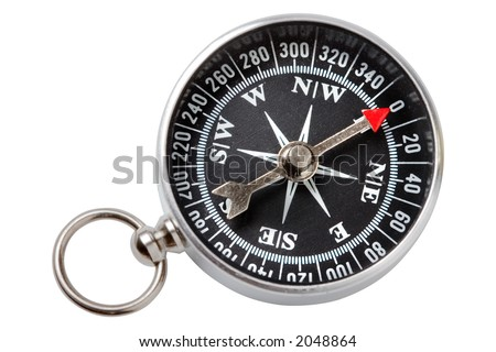 Closeup compass on white background - stock photo