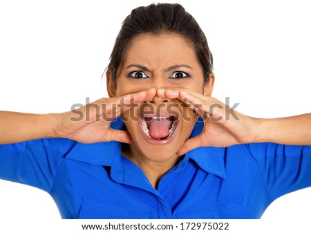 Closeup, cropped portrait of angry, screaming businesswoman, boss, student, worker, employee going through conflict in her life, at work isolated on white background. Negative face expression, emotion
