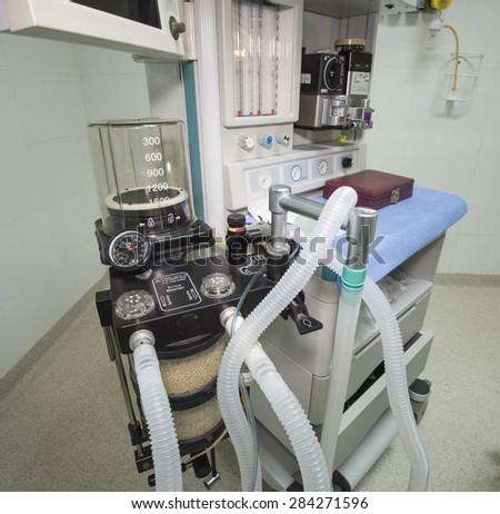 Closeup detail of a ventilator machine in a hospital operating room - stock photo