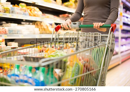 Closeup detail of a woman shopping in a supermarket - stock photo