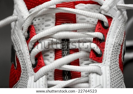 Closeup detail of training shoes - stock photo
