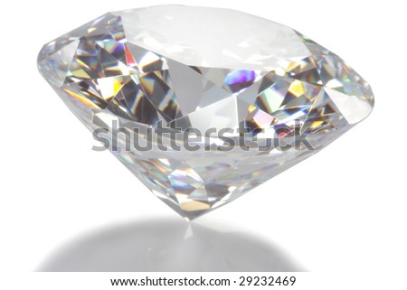 closeup diamond isolated on white - stock photo