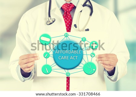 Closeup doctor hands holding white card sign with affordable care act text message isolated on hospital clinic office background. Retro instagram style filter image - stock photo