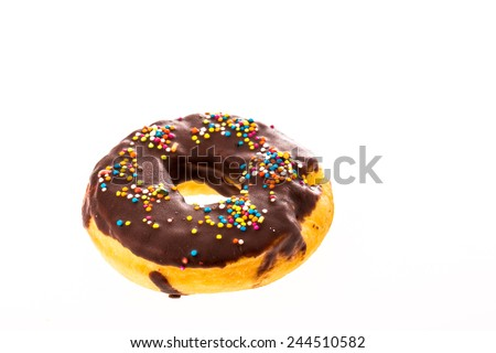 closeup donut on white background