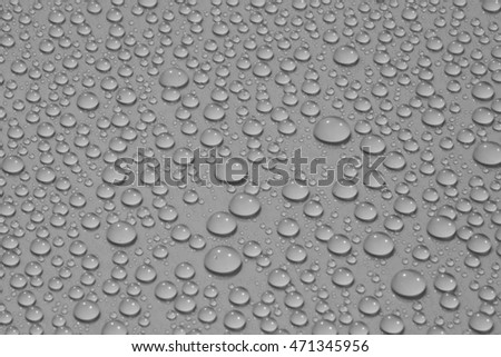 closeup drops water on grey background - light and shadow