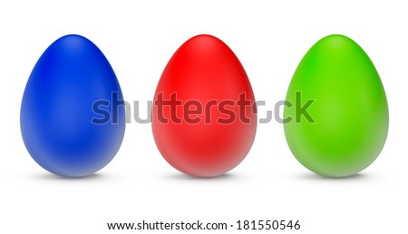 Closeup Easter Eggs on a white background - stock photo