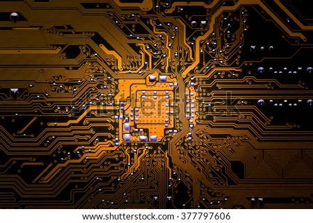 Closeup electronic circuit board background. - stock photo