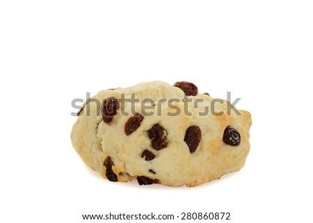 closeup English scone with raisins - stock photo