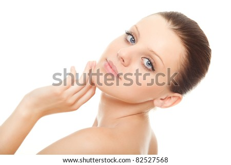 closeup face young woman with healthy clean skin isolated over white background - stock photo
