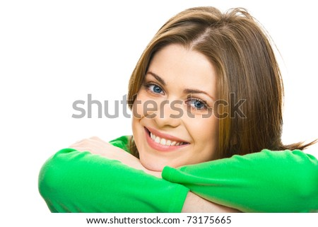 Closeup facial portrait of smiling woman with crossed arms. - stock photo