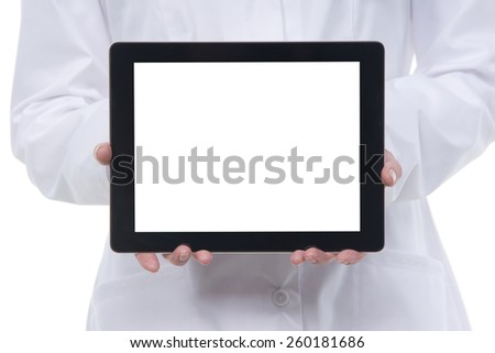 Closeup female doctor showing blank digital tablet pc. Isolated on white. - stock photo