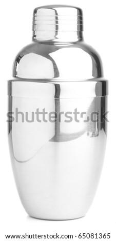 closeup fo metal shaker on white background - stock photo