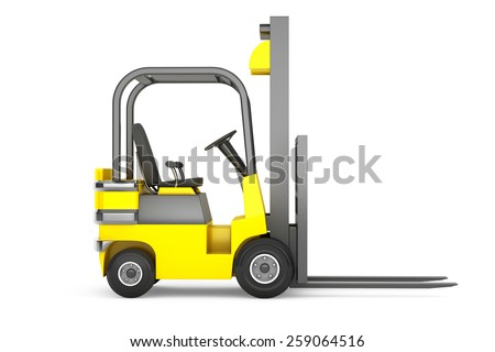 Closeup Forklift Truck on a white background - stock photo