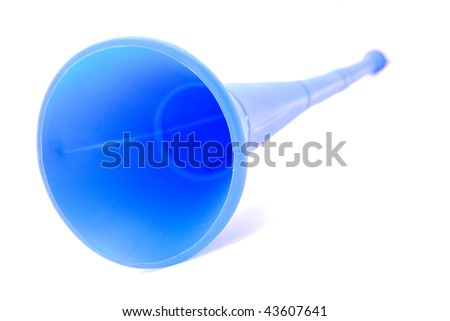 Closeup front view of a Vuvuzela instrument from South Africa used by soccer fans to support their teams in the football stadium. Image isolated on white studio background.