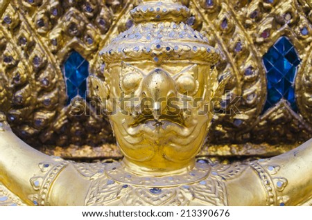 Closeup Garuda in Temple of the Emerald Buddha in Thailand.