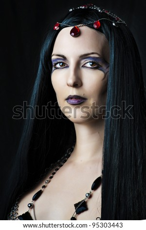 Closeup glamor portrait of young beautiful woman with long black hair - stock photo