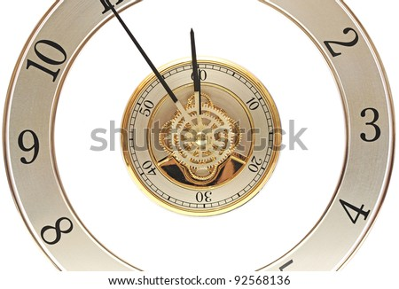 closeup golden clock with gears on white - stock photo