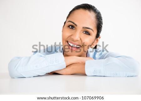 Closeup gorgeous Indian businesswoman smiling - stock photo