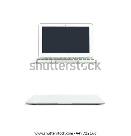 Closeup gray notebook computer isolated on white background - stock photo