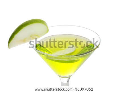 closeup green apple martini - stock photo