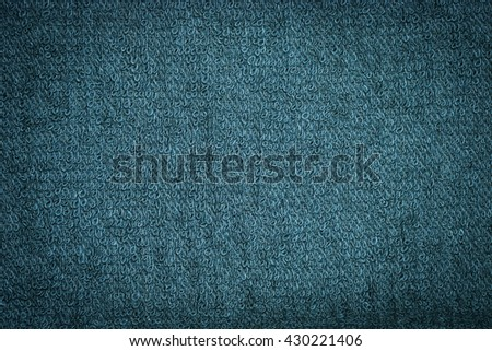 Closeup green blue towel texture fabric for background and design with copy space for text or image. Dark edged. - stock photo